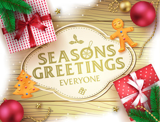 Christmas Seasons Greatings Decorative Greeting Poster in Brown Wooden Background with Snow, Christmas Balls Gifts, Ginger Bread and Pine Leaves For Holiday Season. Vector Illustration