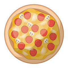 pizza icon in colorful silhouette in white background vector illustration