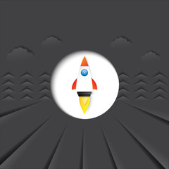 Rocket icon with black color of paper cut abstract background layout template for book covers,brochures,posters and flyers.Vector illustration.