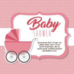 baby shower greeting card with a pink carriage vector illustration graphic design