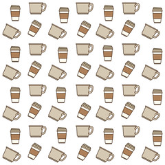 coffee cup pattern in colorful silhouette in white background vector illustration