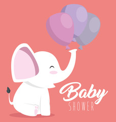 baby shower greeting card with a cute elephant vector illustration graphic design