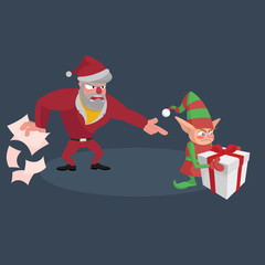 Angry Santa screams at the little elf with a gift