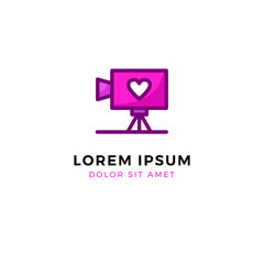 Video Recorder with love logo template