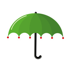 The umbrella is green from the rain in bad weather. Vector. Flat style.