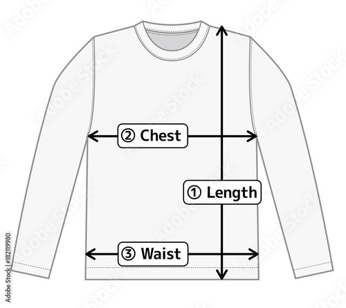 Long Sleeve T Shirt Illustration For Size Chart English Stock