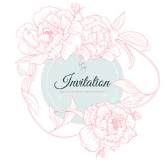 Hand drawn pink Peony flowers with leaves and blue circle frame, invitation card design