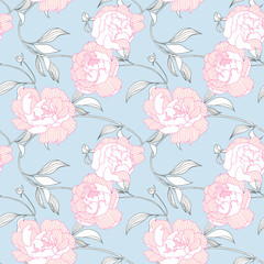 Seamless pattern, hand drawn pink Peony flowers on blue background