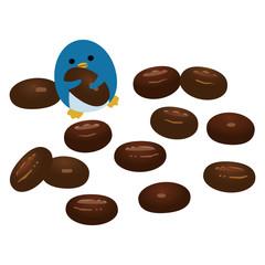 コーヒー豆チョコレートとペンギン