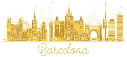 Barcelona Spain City skyline golden silhouette.