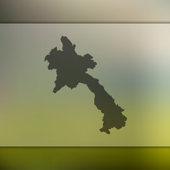Blurred background with silhouette of Laos map. Vector silhouette of Laos map