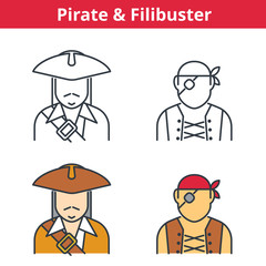 Flat and linear vector avatar set: pirat, capitain, filibuster. Outline human userpic collection. Colorful thin line face icons for user profiles, web design, social media and infographics.