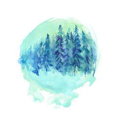 Watercolor art illustration. Coniferous forest, pine, cedar, trees on a round blue green element. Earth, an ecological poster. Countryside landscape.  Watercolor abstract round spot.