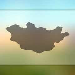 Mongolia map. Blurred background with silhouette of Mongolia map. Vector silhouette of Mongolia map