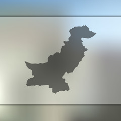 Pakistan map. Blurred background with silhouette of Pakistan map. Vector silhouette of Pakistan map