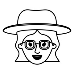 female face with glasses and hat and short wavy hair in monochrome silhouette vector illustration