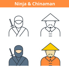 Flat and linear vector avatar set: ninja and chinaman. East Asian outline human userpic collection. Colorful thin line face icons for user profiles, web design, social media and infographics.