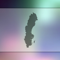 Sweden map. Blurred background with silhouette of Sweden map. Vector silhouette of Sweden map