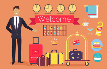 Welcome Hotel Services on Vector Illustration