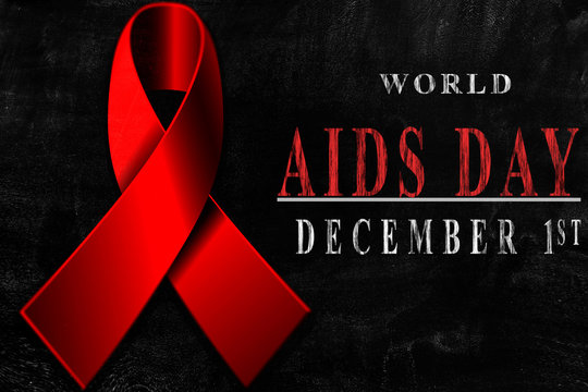 world aids day and hiv virus drawing on blackboard