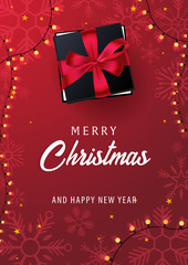 Marry Christmas and Happy New Year poster on red background. Vector illustration.