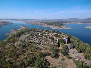 Granadilla (Caceres, Extremadura) desde el aire. Fotografia aerea con drone