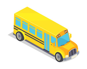 Yellow School Bus Vector Illustration Isolated