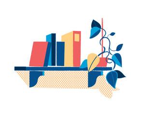 Mensola con libri e piantina
