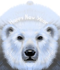 Polar bear wishes a happy new year in pastel style