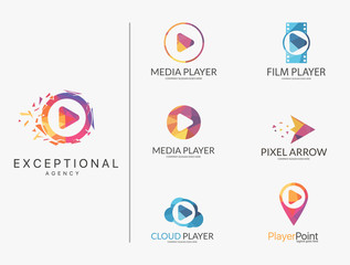 Player logo set. Polygonal player logotypes