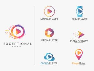 Player logo set. Polygonal player logotypes