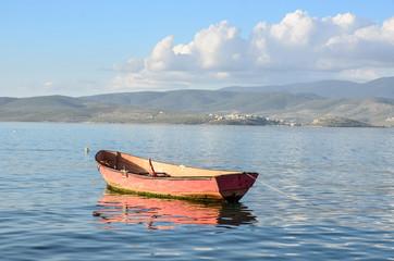 Small fishing boat near bay in Gulluk, Mugla
