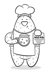 a bear in an apron holds a teapot with hot coffee,cartoon character,bear-cook, vector image,black and white picture