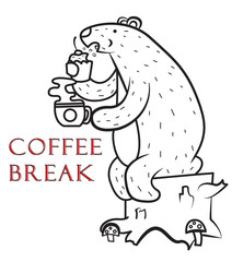 the bear eats a cupcake and drinks a fragrant drink,coffee break, vector image, cartoon character,black and white picture