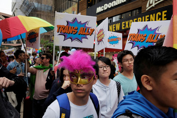 Supporters of LGBT rights take part in the annual pride parade in Hong Kong, China