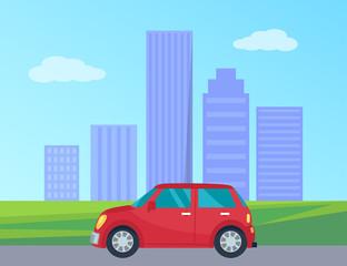 Private Automobile in City Vector Illustration