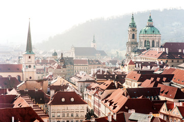 Prague roofs, churchs and buildings panoramic view, Czech Republic