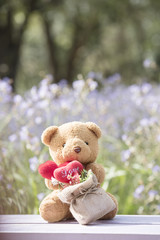 Brown bear and red heart with blurred floral floor.