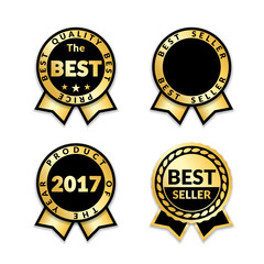 Ribbon awards best seller set. Gold ribbon award icons isolated white background. Bestseller golden tags sale label, badge, medal, guarantee quality product, certificate. Vector illustration