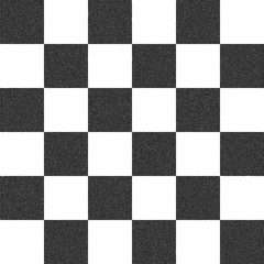 Black and white checkered stippling background.