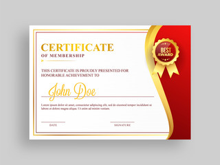 Certificate of membership template with red and golden design and badge.