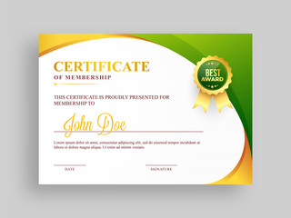 Certificate of membership template with green and golden design and badge.