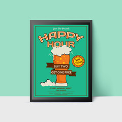 Happy Hour template with beer glass for web, poster, flyer, invitation to party in green colors. Vintage style.