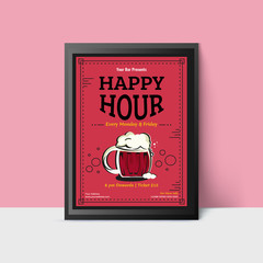 Happy Hour template with beer mugs for web, poster, flyer, invitation to party in pink colors. Vintage style.
