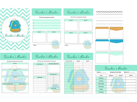 Set of Teacher's Binder or Lesson Planner.