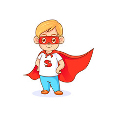 Funny little boy in superhero pose wearing red mask and red cape