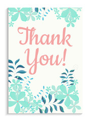 Thank You Greeting Card Design with Colorful Flowers.