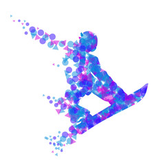 Silhouette of a racing snowboarder in a jump.