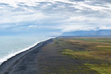 above view of Solheimafjara beach in Iceland