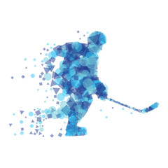 Silhouette of hockey player.